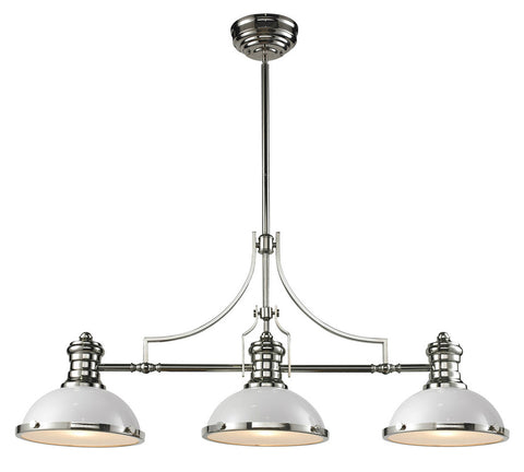 ELK Lighting 66155-3 Chadwick 3-Light Island, Gloss White, Polished Nickel