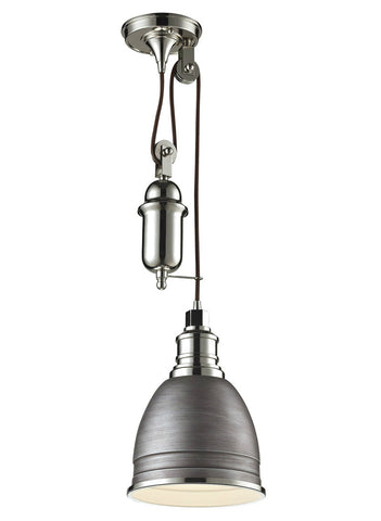 Elk lighting 668811 carolton 1 light pulley pendant weathered zinc elk lighting 668811 carolton 1 light pulley pendant weathered zinc with polished aloadofball Image collections