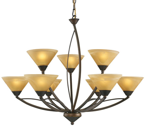 ELK Lighting 7648/6+3 Elysburg 9-Light Chandelier, Aged Bronze