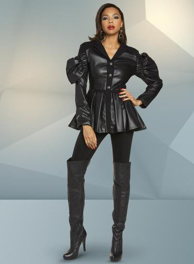 Puffed Sleeve Leatherette Top - 17301