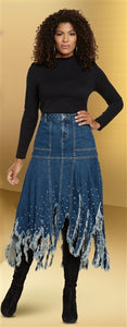 DV Jeans Denim Frayed Skirt
