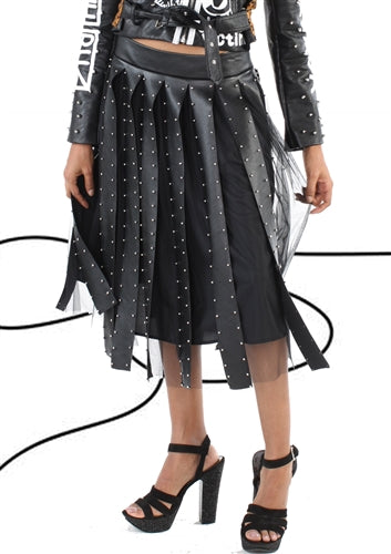 Tulle And Leather Skirt