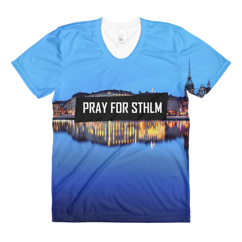 Sublimation PRAY BLUE women's crew neck t-shirt