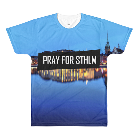 Sublimation PRAY BLUE men's crewneck t-shirt