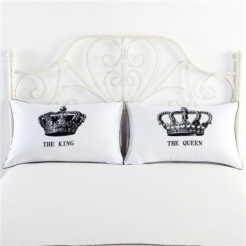 Royal Crown Queen King Design Pillow Cases