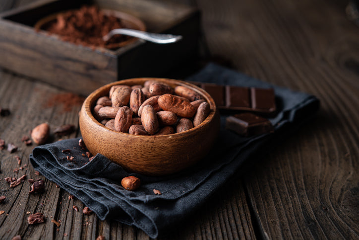 Cocoa beans in dark chocolate