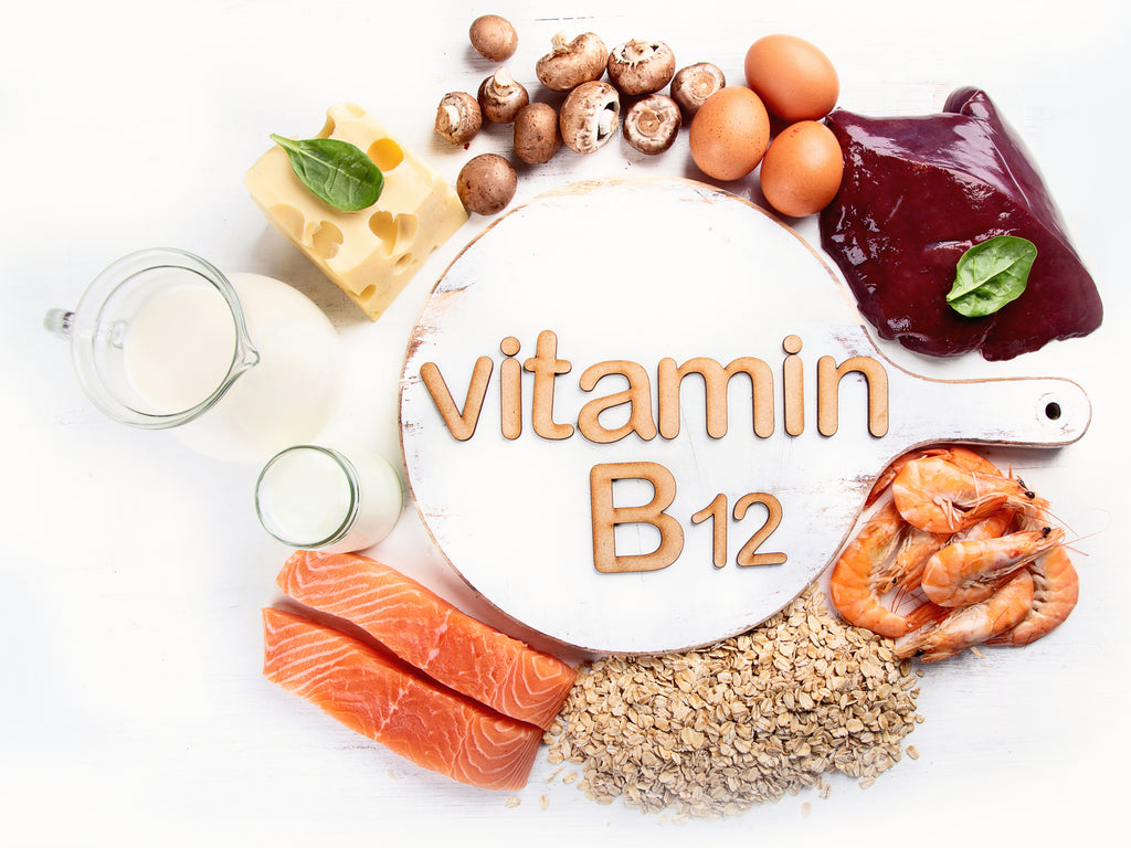 Vitamin B12 food sources  Photo of various foods