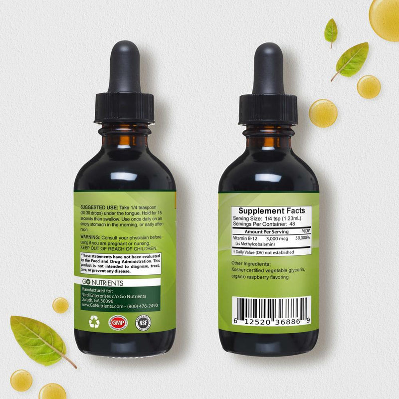 Vitamin B12 Sublingual Liquid Drops 2 pack