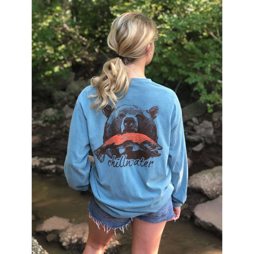 Comfort Color Long Sleeve T-Shirt - Riverside Grizzly; Multiple Colors
