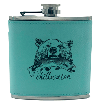 Flask Leather Bound - Riverside Grizzly