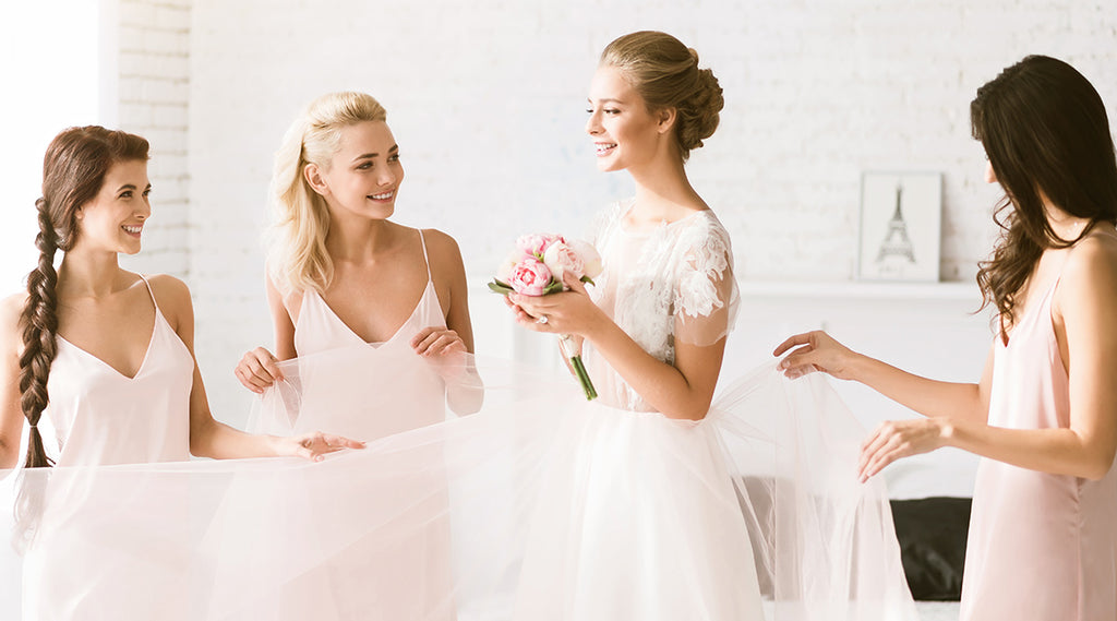 Bride and Bridesmaids getting ready for her wedding