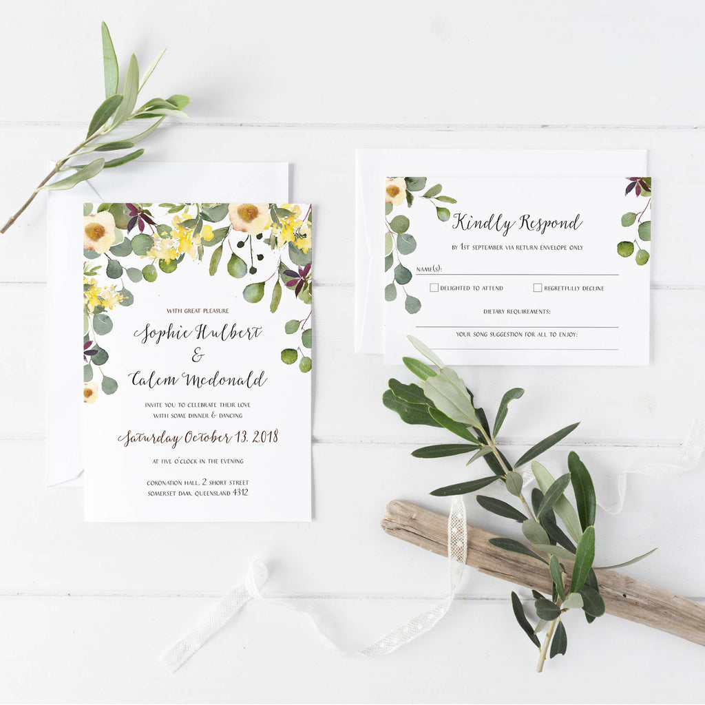 Australian Native with Eucalyptus Wedding Invitations by Dolkens Invitations