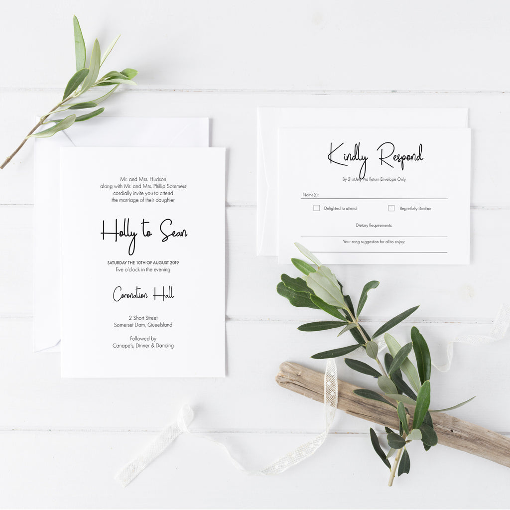 Casual Script Wedding Invitations - DEPOSIT