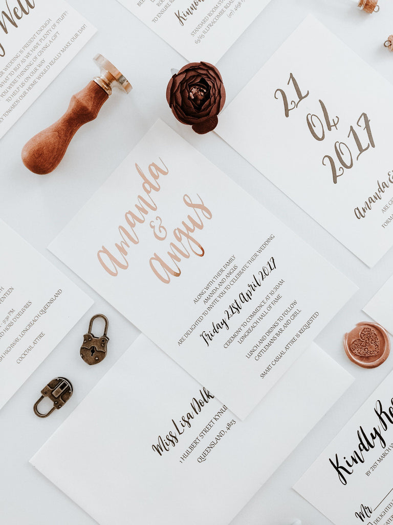 Save the Date Rose Gold Card