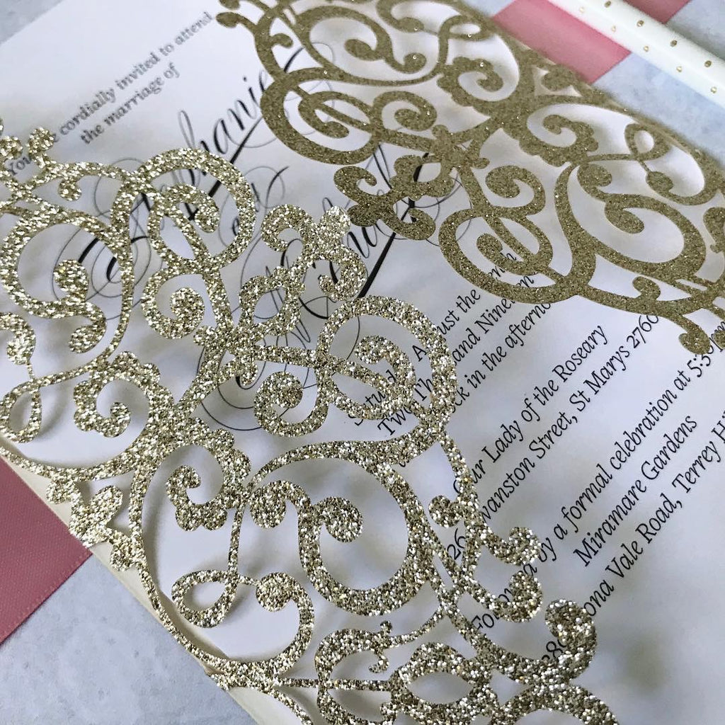 Glitter Laser Cut Invitations