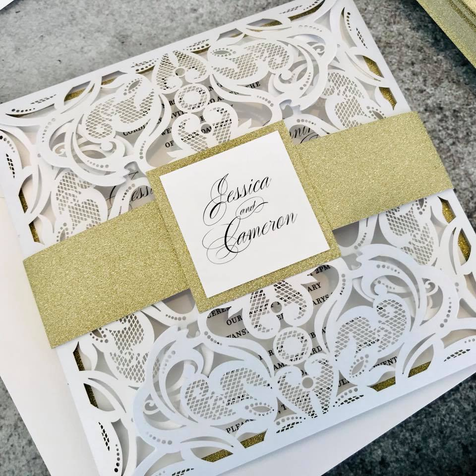 White Laser Cut Invitations