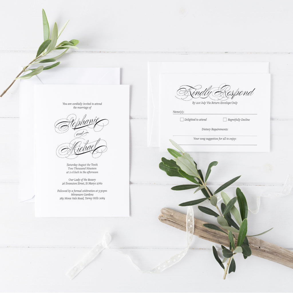 Modern Script Wedding Invitations