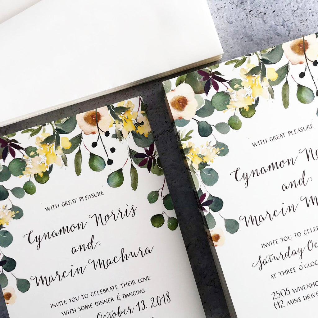 Watercolor Gum Nut Invitations