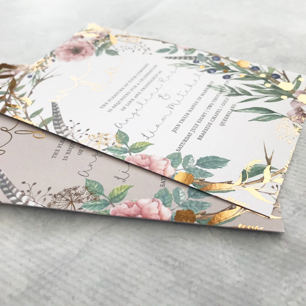 Rose Gold Wedding Invites