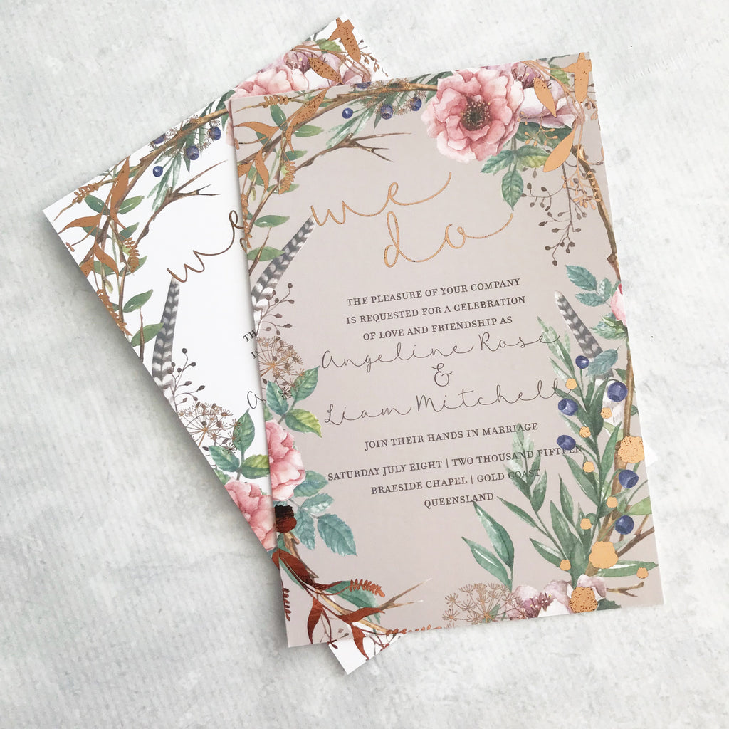 Rose Gold Garden Wedding Invitations