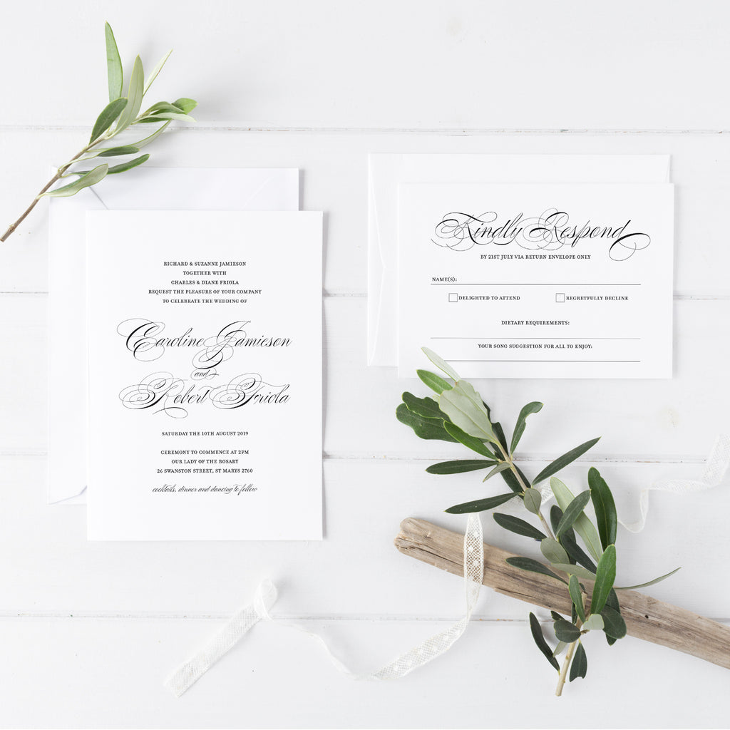 Vintage Script Wedding Invitations