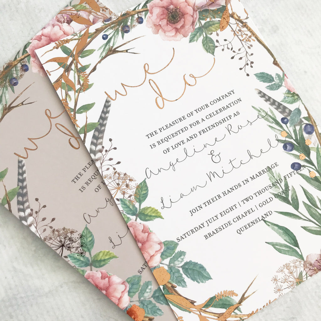 White Brown and Rose Gold Invite