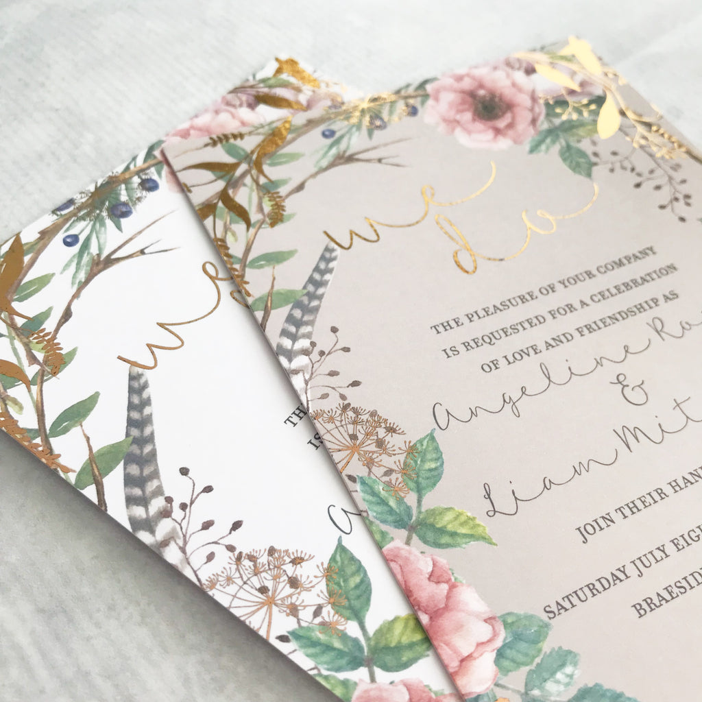 Foiled Watercolour Garden Wedding Invitation