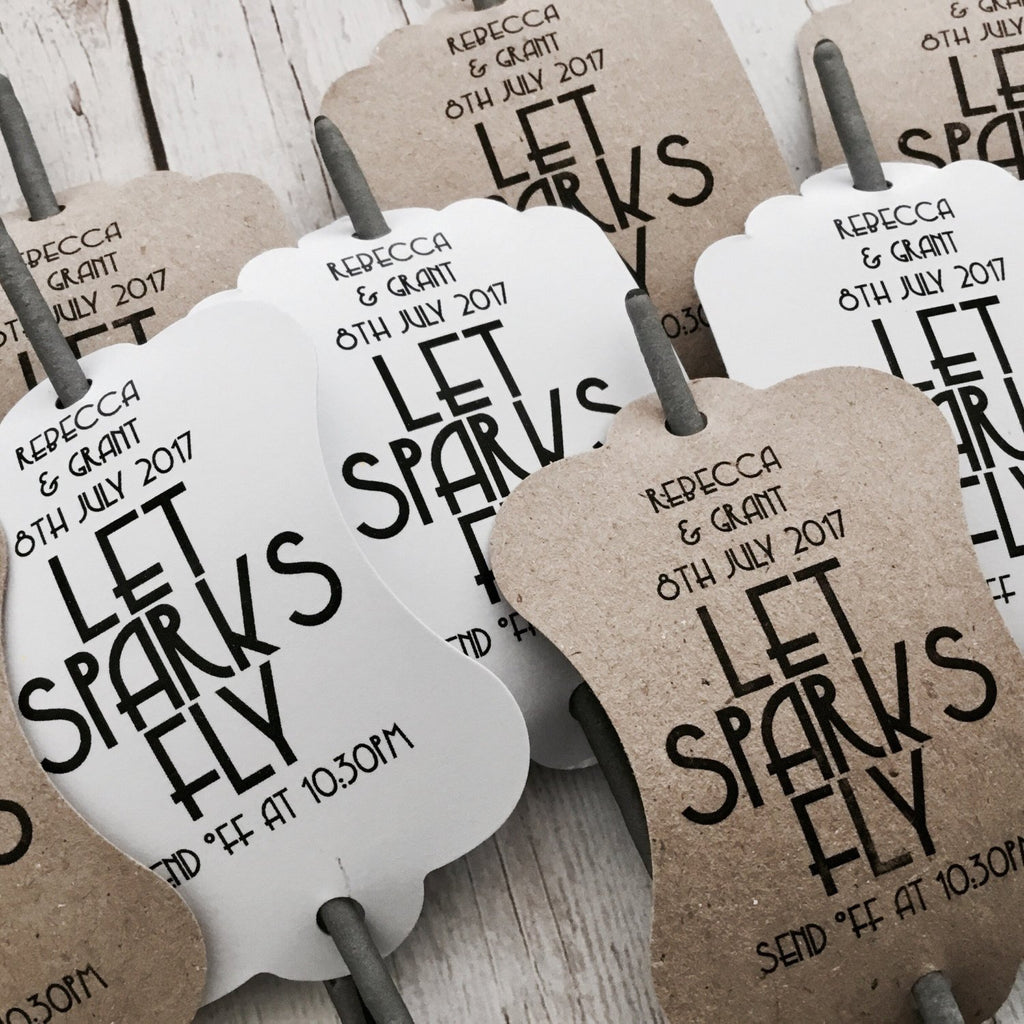 Dolkens Invitations On the Day Custom Let Sparks Fly Tags - Wedding Sparkler Tags