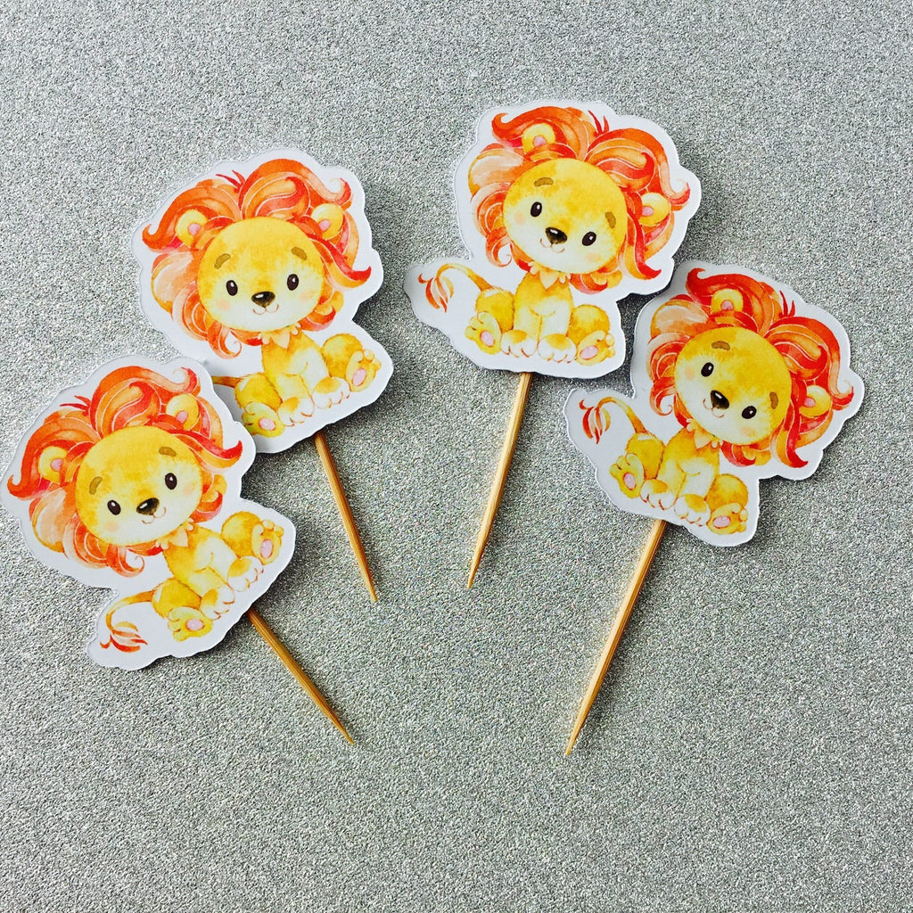 Dolkens Invitations Other Events 12 Pack African Lion Cupcake Toppers