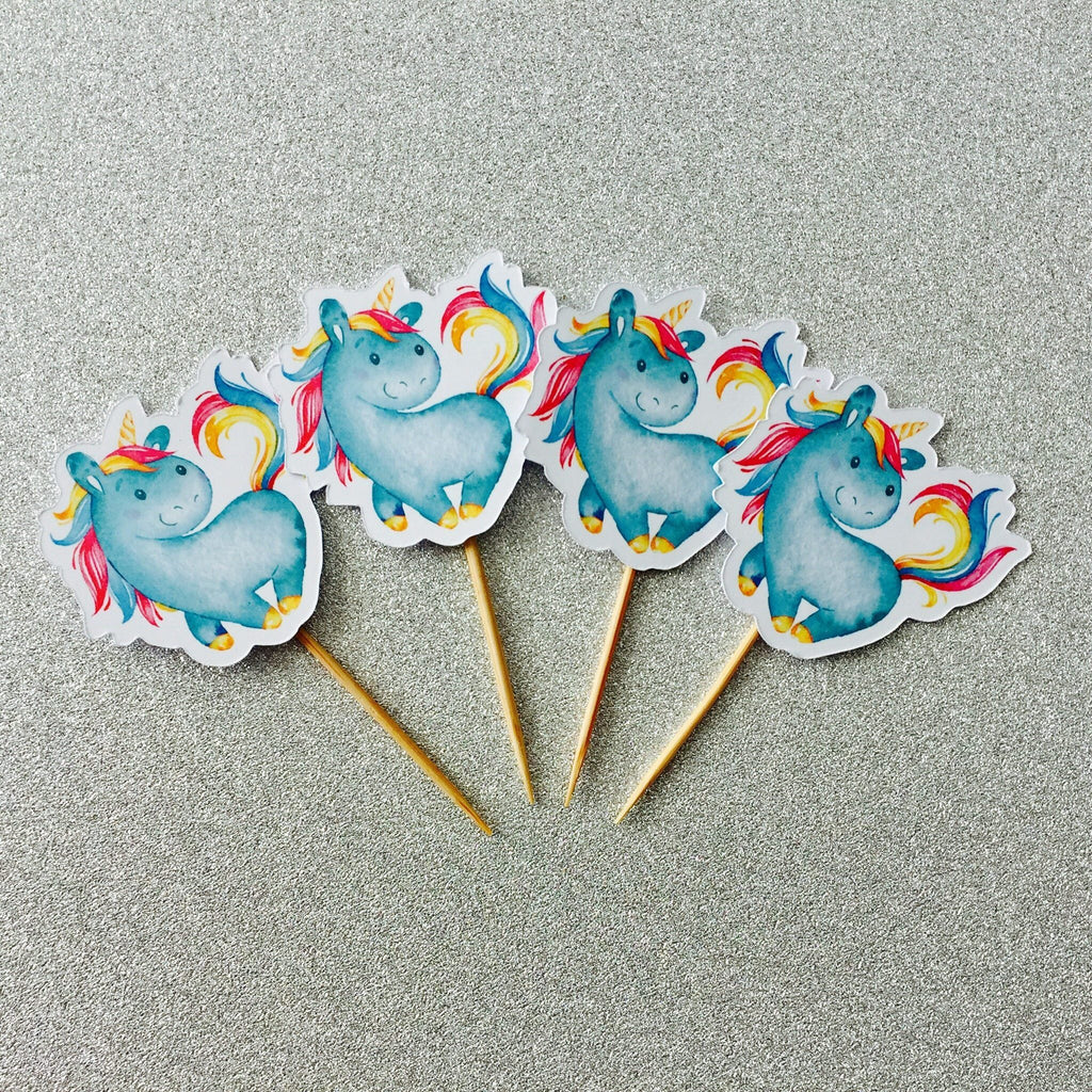 Dolkens Invitations Other Events 12 Pack Blue Pastel Unicorn Cupcake Toppers