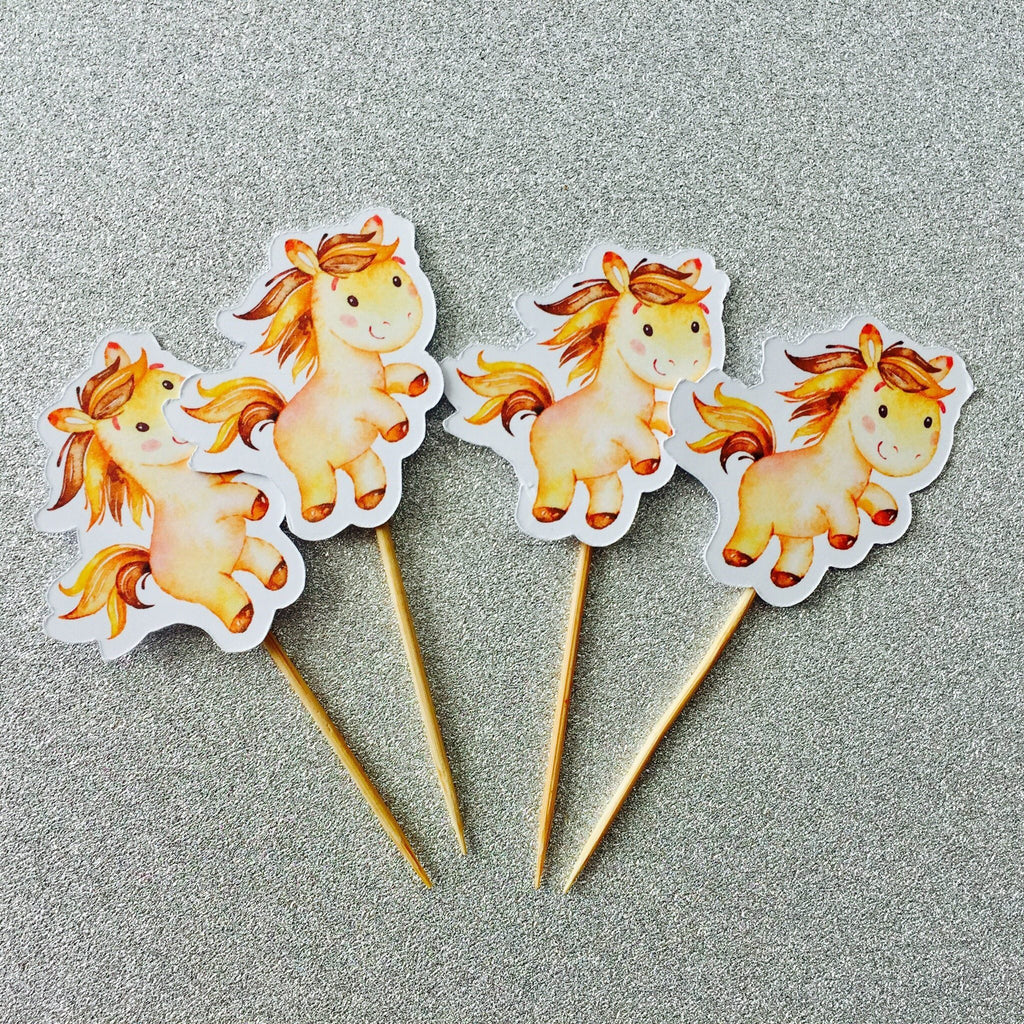 Dolkens Invitations Other Events 12 Pack Brown Horse Cupcake Toppers