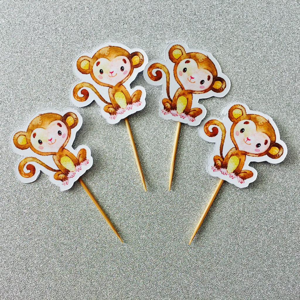 Dolkens Invitations Other Events 12 Pack Brown Monkey Cupcake Toppers