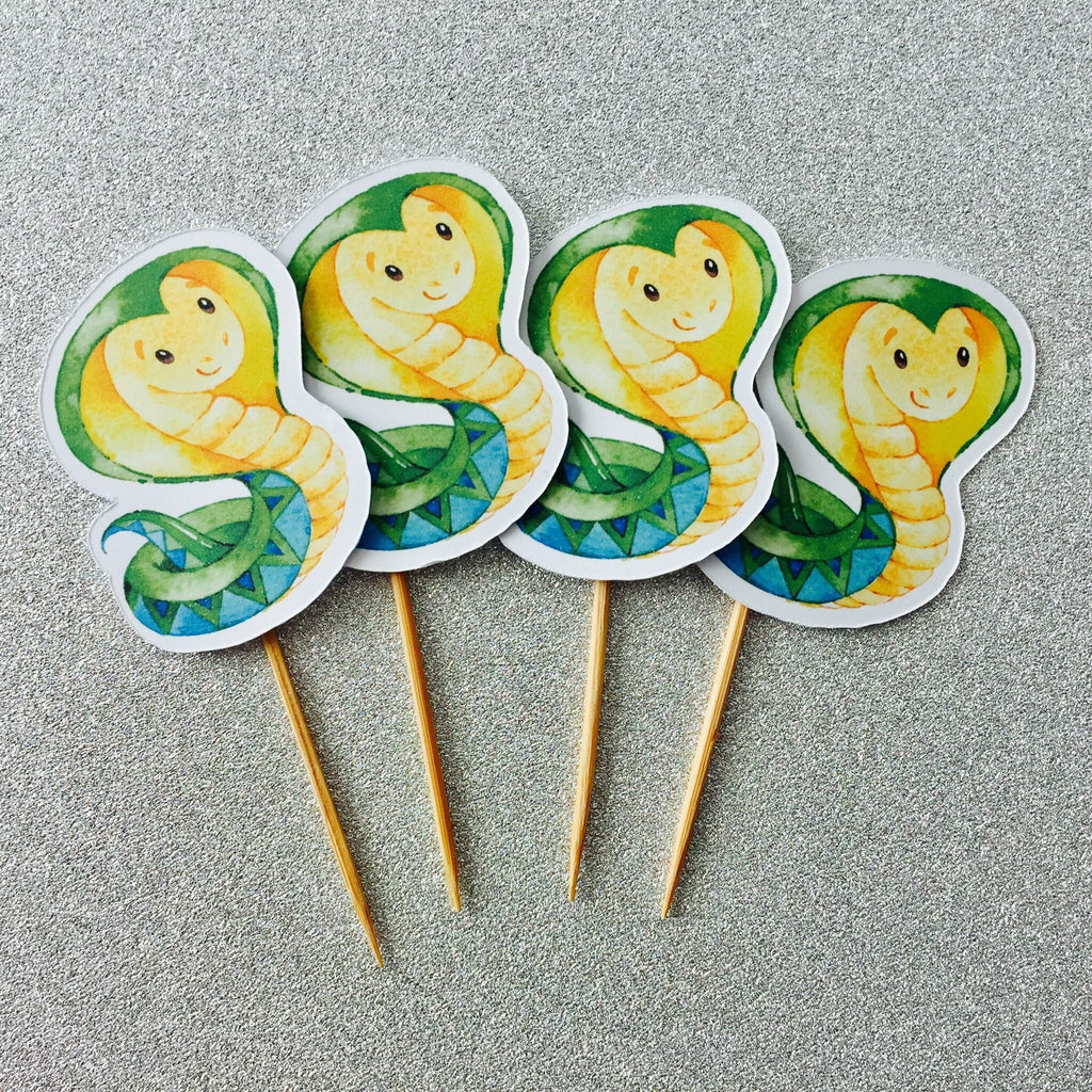 Dolkens Invitations Other Events 12 Pack Green Snake Cupcake Toppers