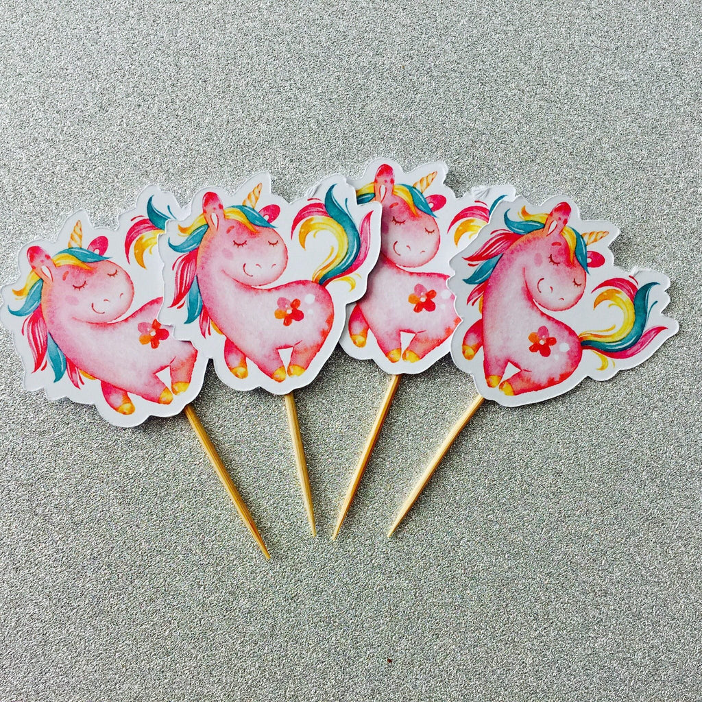 Dolkens Invitations Other Events 12 Pack Pink Unicorn Cupcake Toppers