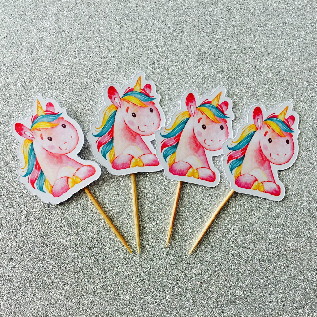 Dolkens Invitations Other Events 12 Pack Pink Unicorn Head Cupcake Toppers