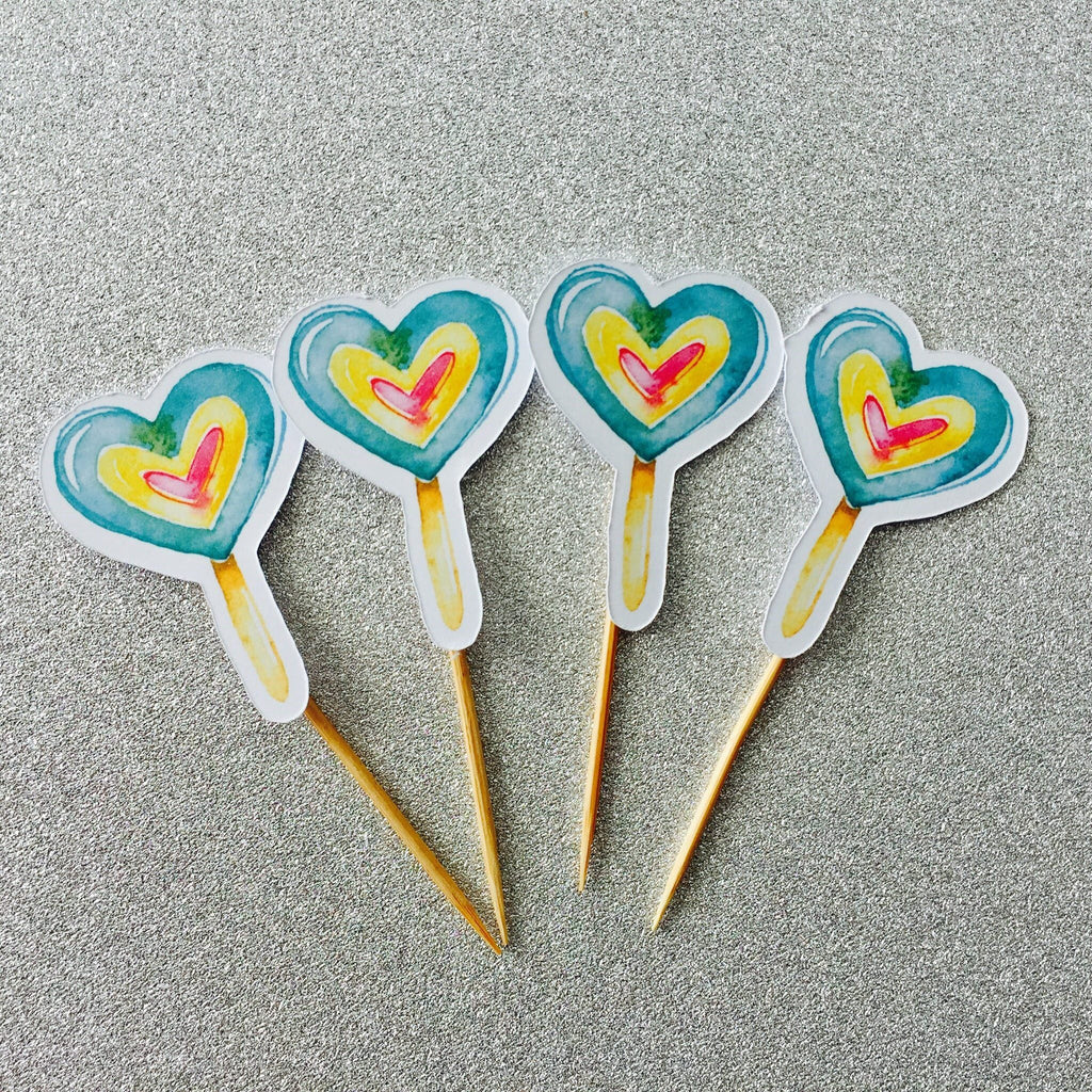 Dolkens Invitations Other Events 12 Pack Toffee Heart Cupcake Toppers