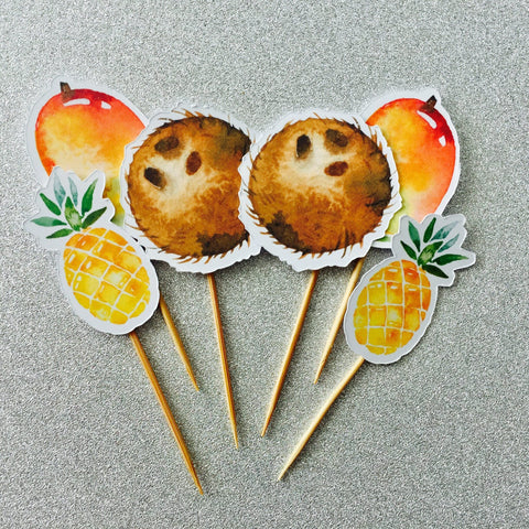 Dolkens Invitations Other Events 12 Pack Tropical Mix Cupcake Toppers