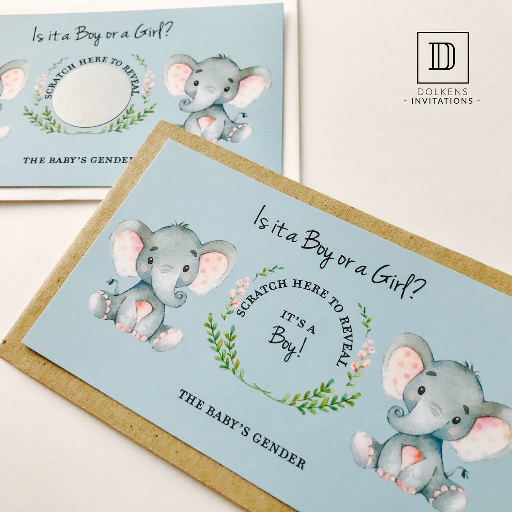 Dolkens Invitations Other Events African Elephant Gender Reveal Scratch Cards
