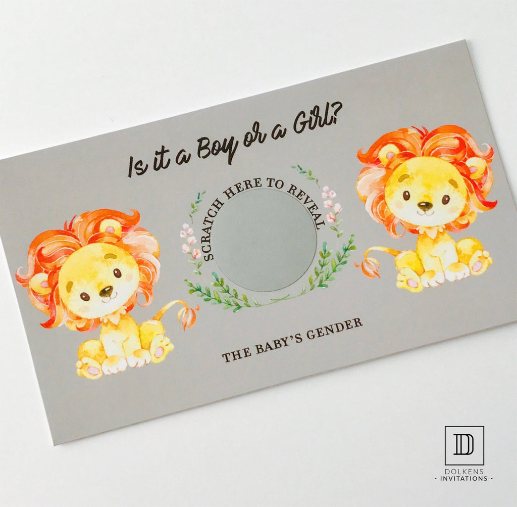 Dolkens Invitations Other Events African Lion Gender Reveal Scratch Cards