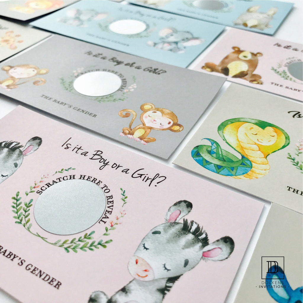Dolkens Invitations Other Events Bear Gender Reveal Scratch Cards