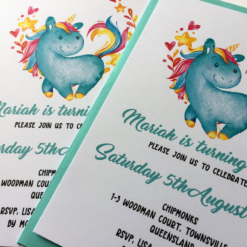 Dolkens Invitations Other Events Blue Unicorn Children's Birthday Invitation