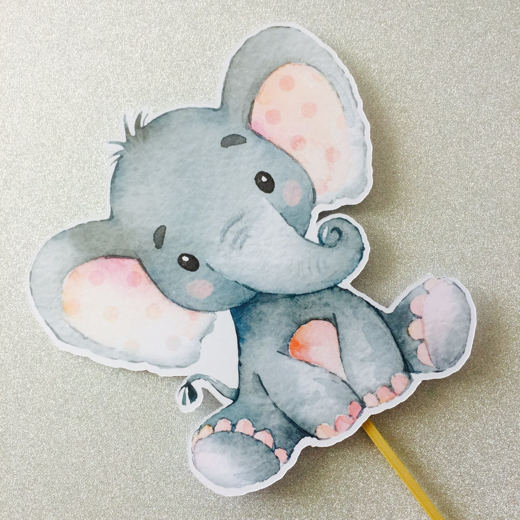 Dolkens Invitations Other Events Gray Elephant Cake Topper