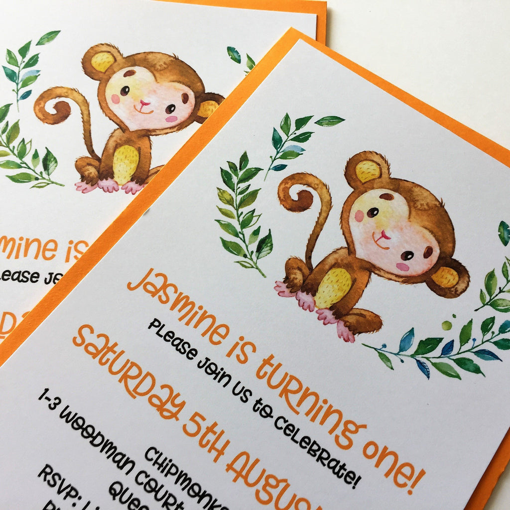 jungle monkey children s birthday invitation dolkens invitations