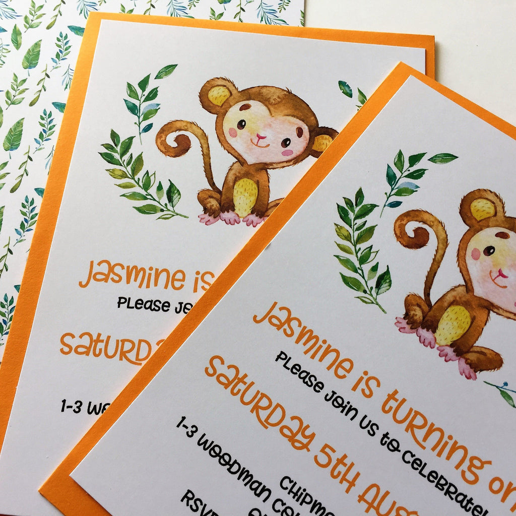 Dolkens Invitations Other Events Jungle Monkey Children's Birthday Invitation