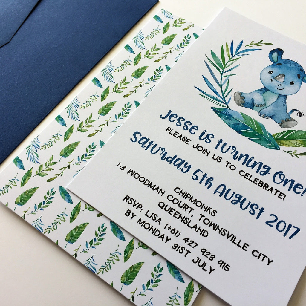 Dolkens Invitations Other Events Jungle Rhino Children's Birthday Invitation