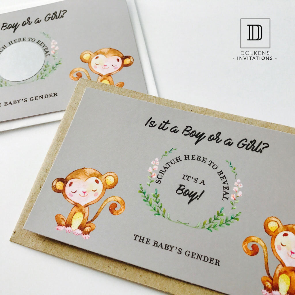 Dolkens Invitations Other Events Monkey Gender Reveal Scratch Cards