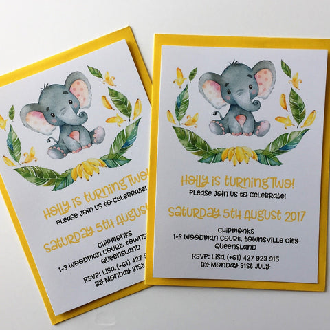 Dolkens Invitations Other Events Safari Elephant Children's Birthday Invitation