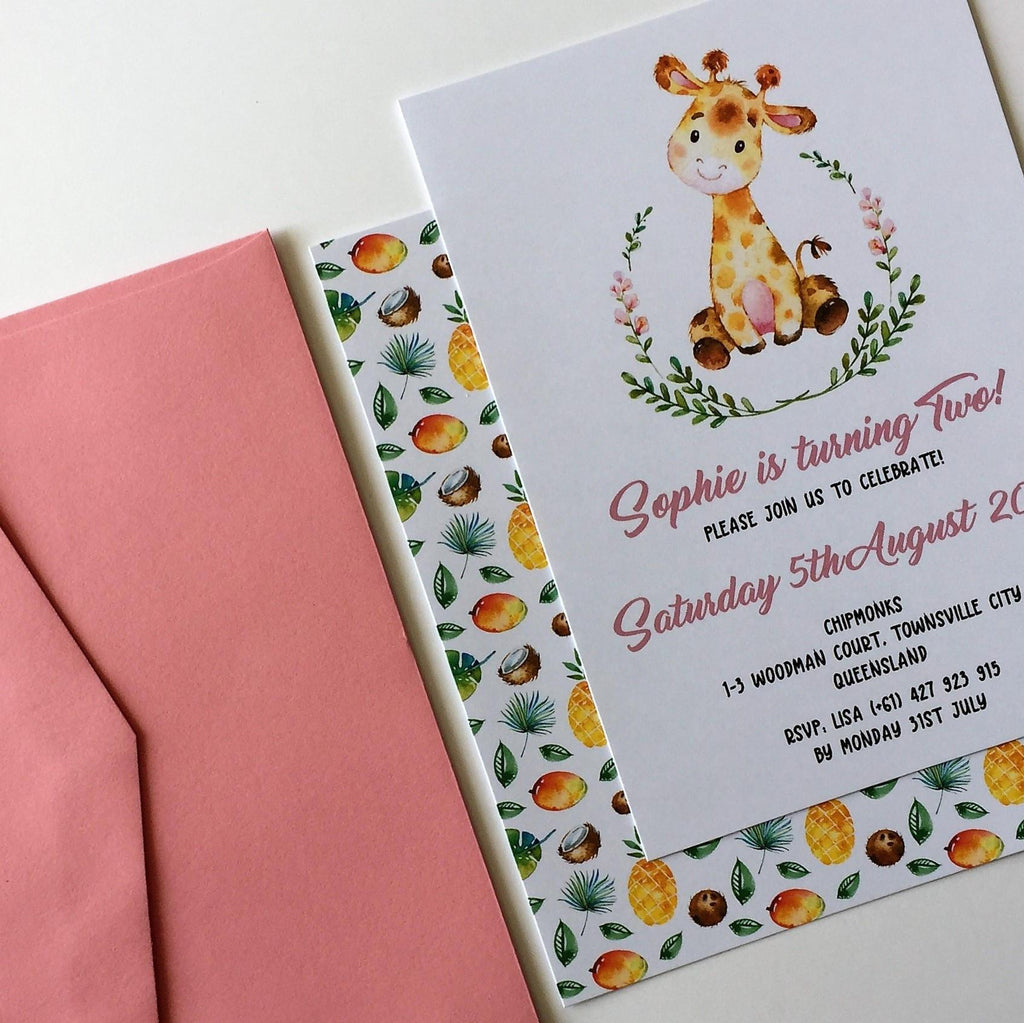 Dolkens Invitations Other Events Safari Giraffe Children's Birthday Invitation