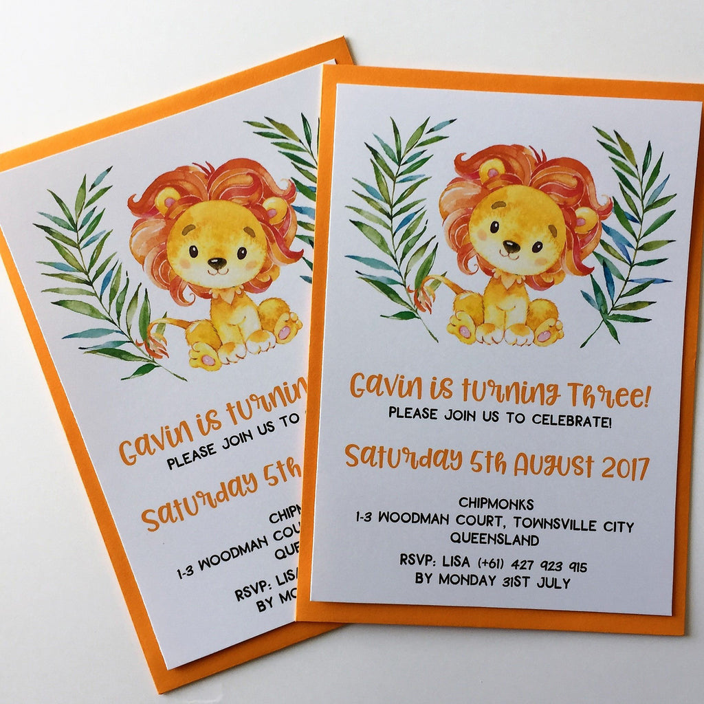Dolkens Invitations Other Events Safari Lion Children's Birthday Invitation
