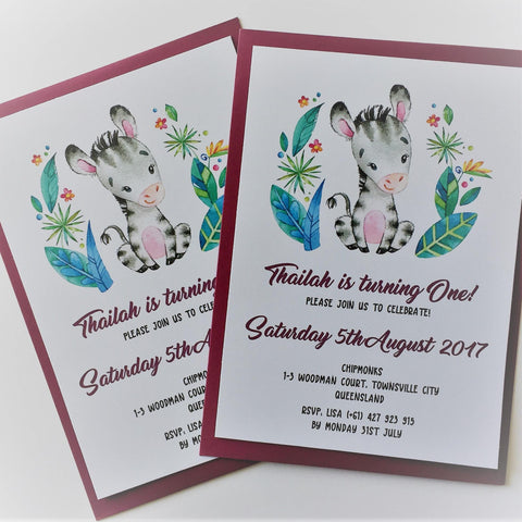 Dolkens Invitations Other Events Safari Zebra Children's Birthday Invitation